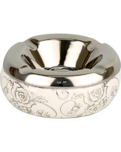 Rund Keramik Askebæger Hvid/Sølv