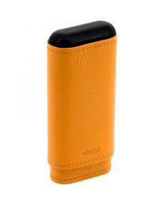 Adorini Cigar Case Real Leather 2-3 Cigars Crocus Orange