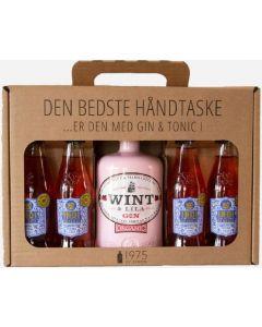 Wint & Lila Strawberry Gin håndtaske m. 4 fl. Indi Jordbær tonic, 38%