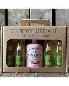 Wint & Lila Strawberry Gin håndtaske m. 4 fl. Indi LEMON tonic, 38%