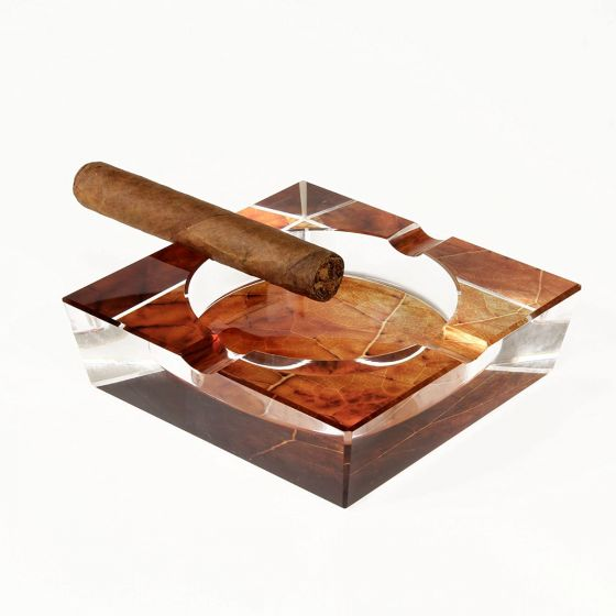 Crystal Ashtray Tobacco Leaf