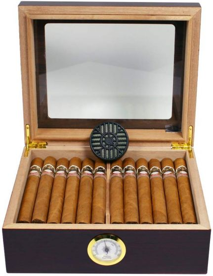 Mahogany finish humidor med plads til ca. 25 cigar