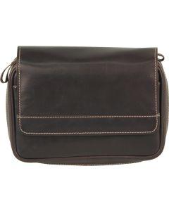 Mørkebrun lædertaske til 4 piber