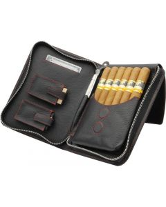 Adorini Cigar Bag Real Leather Red Topstitching