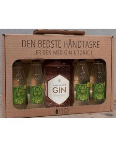 Manchester Raspberry håndtaske m. 4 flasker Indi Lemon tonic, 40%