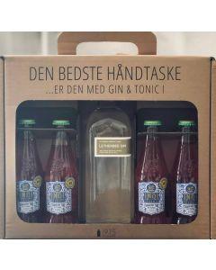 Letherbee Gin håndtaske m. 4 flasker Indi Jordbær tonic, 48%