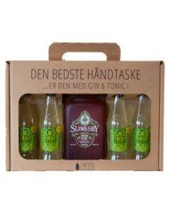 Slingsby Rhubarb håndtaske m. 4 fl. Indi Lemon Tonic, 40%