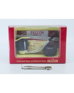 Falcon Pibe - Æske m/ metal stel og 2 pibehoveder (mørkebrun)