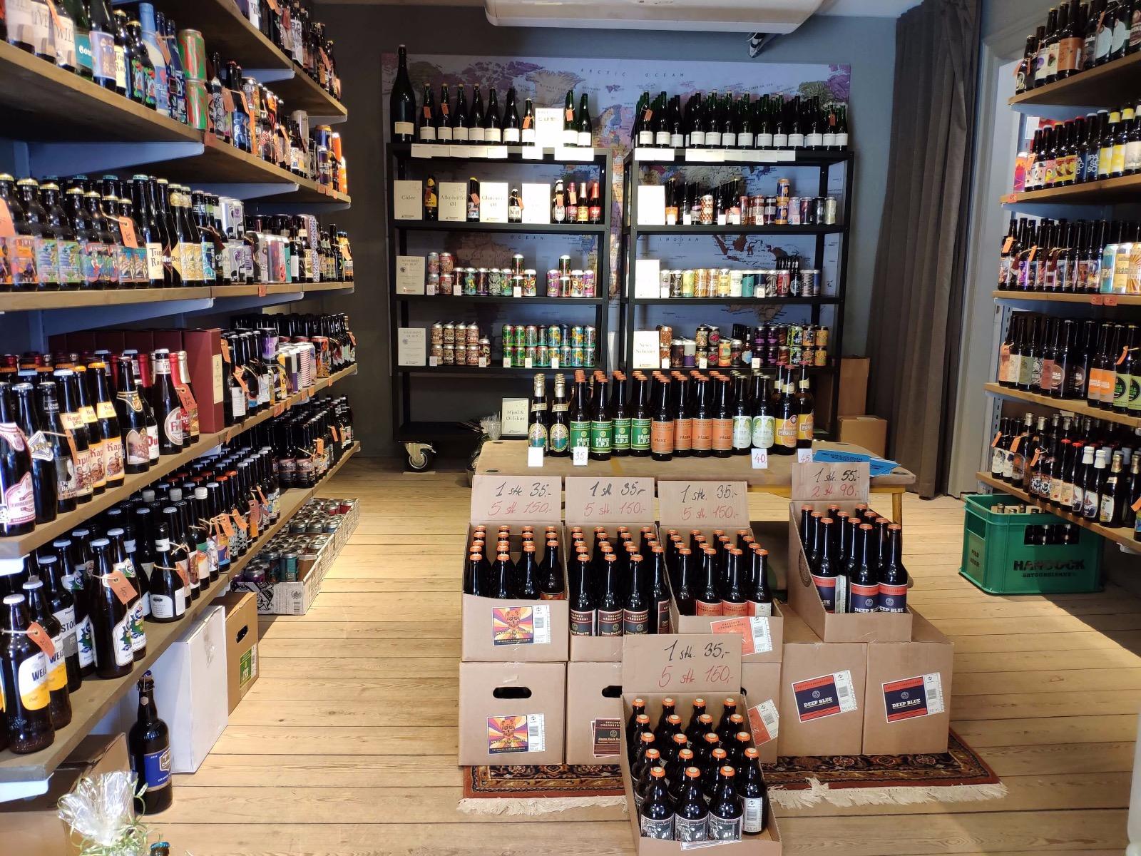 Øl udvalget i butikken